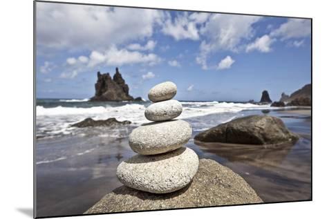 Tower of Stones at Playa De Benijo, Tenerife-Uwe Merkel-Mounted Photographic Print