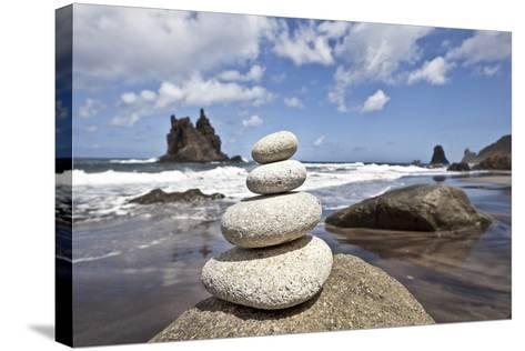 Tower of Stones at Playa De Benijo, Tenerife-Uwe Merkel-Stretched Canvas Print