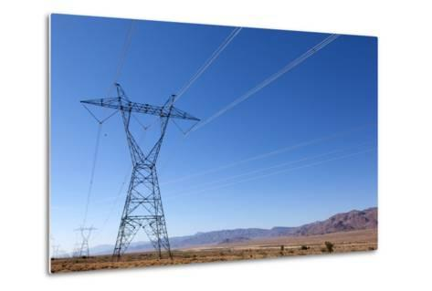 USA, Arizona, Route 66, Wide Landscape, Power Pole-Catharina Lux-Metal Print