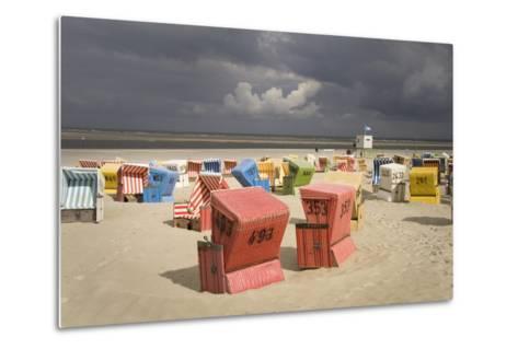 Germany, Lower Saxony, Island Langeoog, Beach, Wicker Beach Chairs-Roland T.-Metal Print
