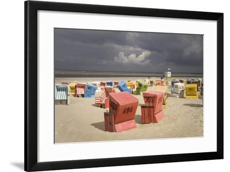 Germany, Lower Saxony, Island Langeoog, Beach, Wicker Beach Chairs-Roland T.-Framed Art Print