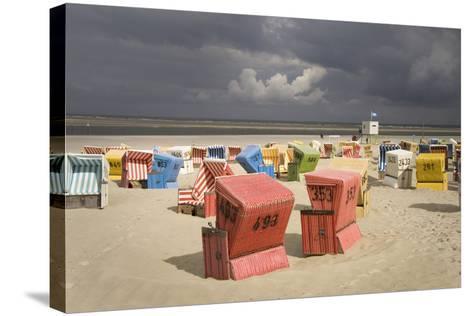 Germany, Lower Saxony, Island Langeoog, Beach, Wicker Beach Chairs-Roland T.-Stretched Canvas Print