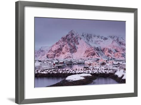Henningsvaer (Fishing Village), Ausvagoya (Island), Lofoten, 'Nordland' (County), Norway-Rainer Mirau-Framed Art Print