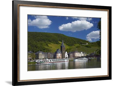 Germany, Rhineland-Palatinate, Moselle Valley, Bernkastel-Kues, the Moselle, Tourboats-Chris Seba-Framed Art Print