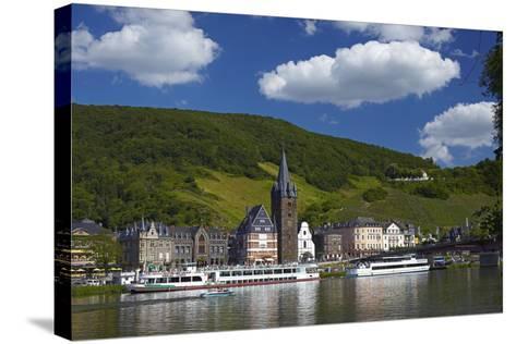 Germany, Rhineland-Palatinate, Moselle Valley, Bernkastel-Kues, the Moselle, Tourboats-Chris Seba-Stretched Canvas Print