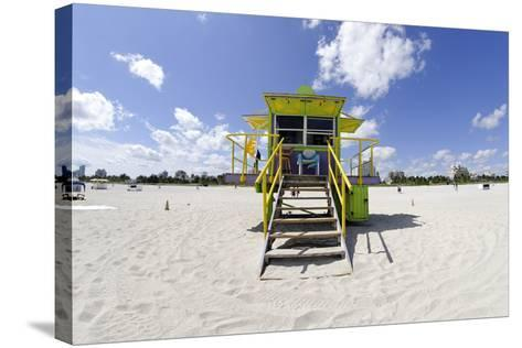 Beach Lifeguard Tower '12 St', in Art Deco Style, Miami South Beach-Axel Schmies-Stretched Canvas Print