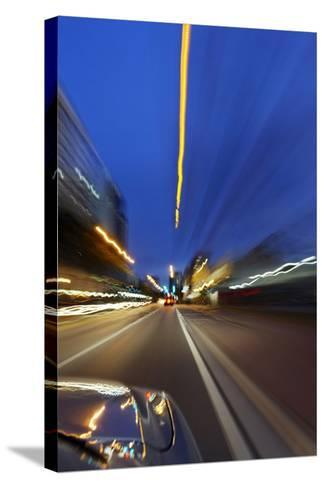 Dynamic Ride Through the Night, Miami South Beach, Art Deco District, Florida, Usa-Axel Schmies-Stretched Canvas Print
