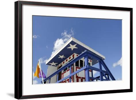 Beach Lifeguard Tower '13 St', with Paint in Style of the Us Flag, Miami South Beach-Axel Schmies-Framed Art Print