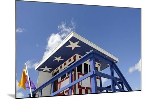 Beach Lifeguard Tower '13 St', with Paint in Style of the Us Flag, Miami South Beach-Axel Schmies-Mounted Photographic Print