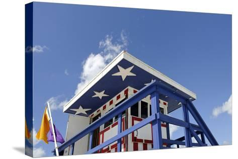 Beach Lifeguard Tower '13 St', with Paint in Style of the Us Flag, Miami South Beach-Axel Schmies-Stretched Canvas Print