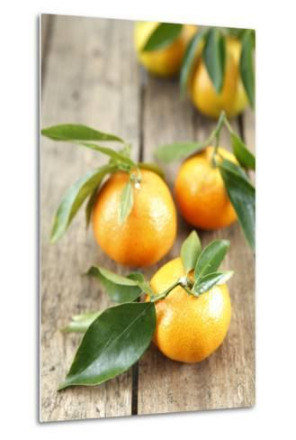 Clementines with Leaves on Wood-Nikky-Metal Print
