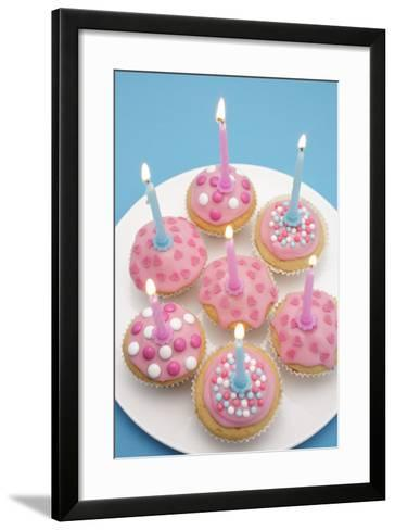Of Muffin, Icing, Pink, Hearts, Chocolate Beans, Sugar Pearls, Candles, Burn, Detail, Blur-Nikky-Framed Art Print