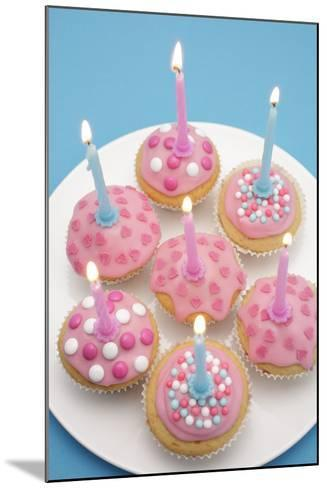 Of Muffin, Icing, Pink, Hearts, Chocolate Beans, Sugar Pearls, Candles, Burn, Detail, Blur-Nikky-Mounted Photographic Print
