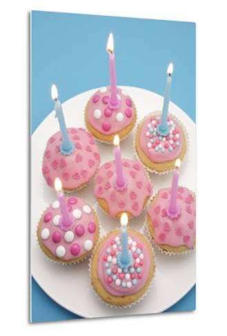 Of Muffin, Icing, Pink, Hearts, Chocolate Beans, Sugar Pearls, Candles, Burn, Detail, Blur-Nikky-Metal Print