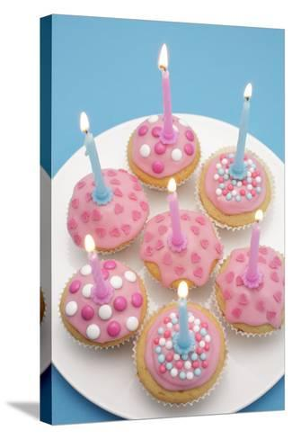Of Muffin, Icing, Pink, Hearts, Chocolate Beans, Sugar Pearls, Candles, Burn, Detail, Blur-Nikky-Stretched Canvas Print