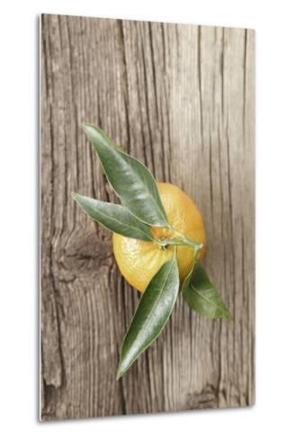 Clementine with Leaves on Wood-Nikky-Metal Print