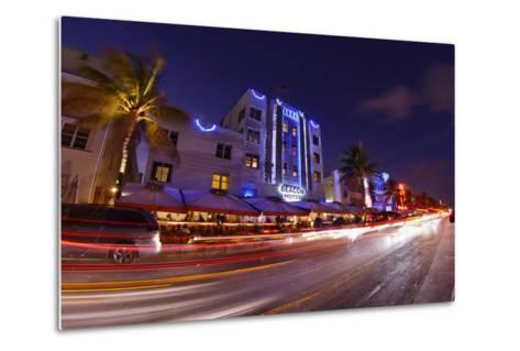 Traffic Early in the Evening in the Art Deco District, Ocean Drive, Miami South Beach-Axel Schmies-Metal Print