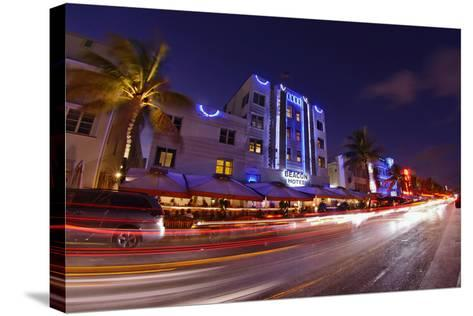 Traffic Early in the Evening in the Art Deco District, Ocean Drive, Miami South Beach-Axel Schmies-Stretched Canvas Print