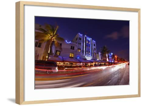Traffic Early in the Evening in the Art Deco District, Ocean Drive, Miami South Beach-Axel Schmies-Framed Art Print