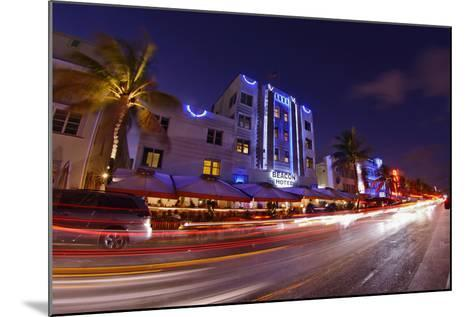 Traffic Early in the Evening in the Art Deco District, Ocean Drive, Miami South Beach-Axel Schmies-Mounted Photographic Print