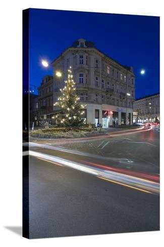 Austria, Lower Austria, Bathing, Streets Scenery, Light-Tracks, Evening-Mood, Fir-Tree-Rainer Mirau-Stretched Canvas Print