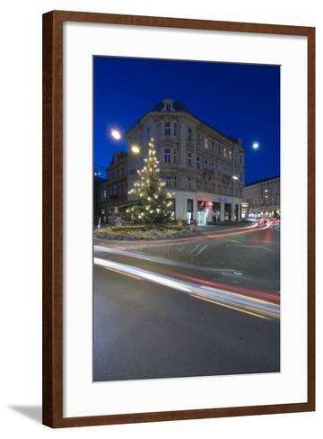 Austria, Lower Austria, Bathing, Streets Scenery, Light-Tracks, Evening-Mood, Fir-Tree-Rainer Mirau-Framed Art Print
