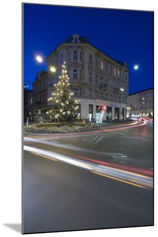 Austria, Lower Austria, Bathing, Streets Scenery, Light-Tracks, Evening-Mood, Fir-Tree-Rainer Mirau-Mounted Photographic Print