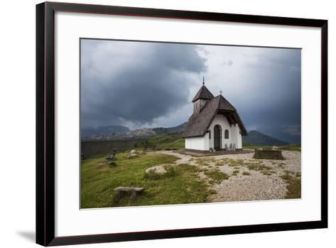 Chapel at the Plateau of the Pralongia, Close Corvara, Val Badia, South Tyrol, Italy, Europe-Gerhard Wild-Framed Art Print