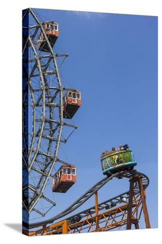 Big Wheel and Rollercoaster, 'Prater', 2nd District, Vienna, Austria, Europe-Gerhard Wild-Stretched Canvas Print