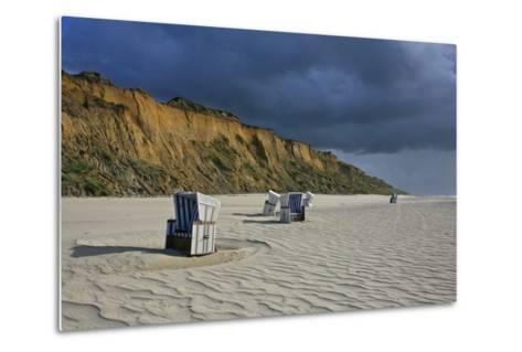 Shower of Rain over the 'Rotes Kliff' (Red Cliff) Close Kampen (Municipality) on the Island of Sylt-Uwe Steffens-Metal Print