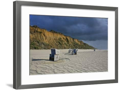 Shower of Rain over the 'Rotes Kliff' (Red Cliff) Close Kampen (Municipality) on the Island of Sylt-Uwe Steffens-Framed Art Print