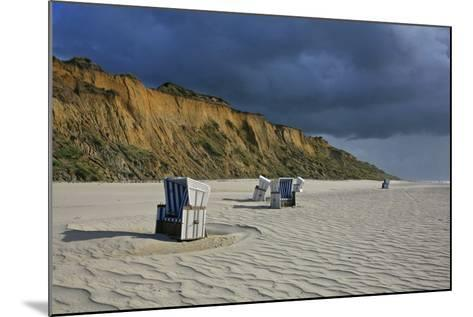 Shower of Rain over the 'Rotes Kliff' (Red Cliff) Close Kampen (Municipality) on the Island of Sylt-Uwe Steffens-Mounted Photographic Print