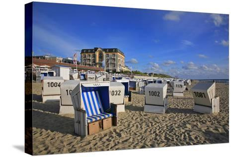 Beach Chairs on the Beach in Front of the 'Hotel Miramar' in Westerland on the Island of Sylt-Uwe Steffens-Stretched Canvas Print