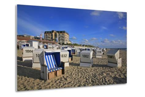 Beach Chairs on the Beach in Front of the 'Hotel Miramar' in Westerland on the Island of Sylt-Uwe Steffens-Metal Print