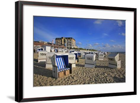 Beach Chairs on the Beach in Front of the 'Hotel Miramar' in Westerland on the Island of Sylt-Uwe Steffens-Framed Art Print