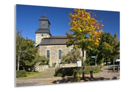 Germany, Hessen, Northern Hessen, Wabern, Protestant Church, Tree, Autumn Colours-Chris Seba-Metal Print