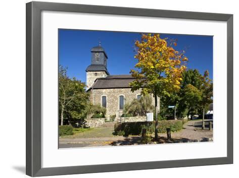 Germany, Hessen, Northern Hessen, Wabern, Protestant Church, Tree, Autumn Colours-Chris Seba-Framed Art Print
