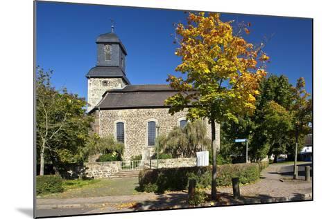 Germany, Hessen, Northern Hessen, Wabern, Protestant Church, Tree, Autumn Colours-Chris Seba-Mounted Photographic Print