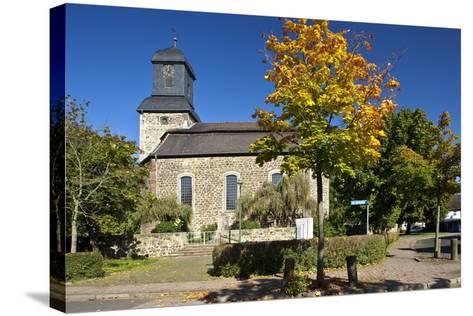 Germany, Hessen, Northern Hessen, Wabern, Protestant Church, Tree, Autumn Colours-Chris Seba-Stretched Canvas Print