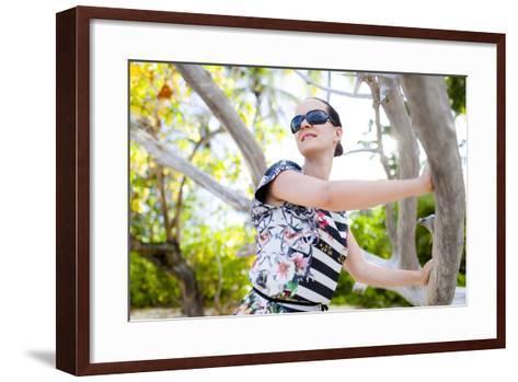 European Woman, Seychelles, Praslin, Beach Photo Shooting, Sunrise, Fashion-Harry Marx-Framed Art Print