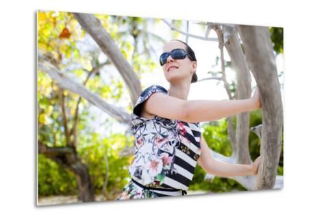 European Woman, Seychelles, Praslin, Beach Photo Shooting, Sunrise, Fashion-Harry Marx-Metal Print