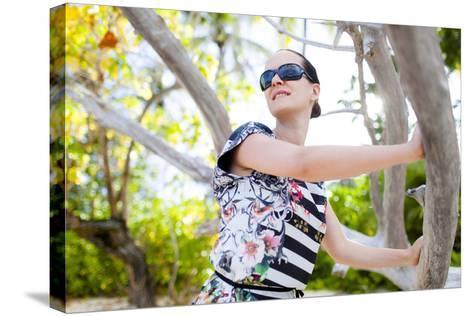 European Woman, Seychelles, Praslin, Beach Photo Shooting, Sunrise, Fashion-Harry Marx-Stretched Canvas Print