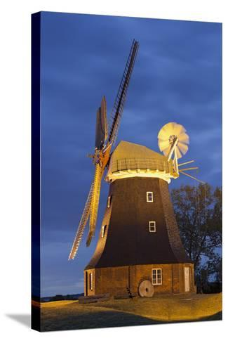 Windmill by Stove, Mecklenburg-Western Pomerania, Germany-Rainer Mirau-Stretched Canvas Print