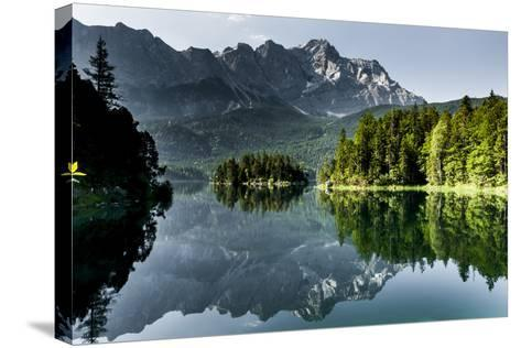 Lake Eibsee with 'Zugspitze'--Stretched Canvas Print