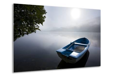 Scandinavia, Norway, Oppheimsvatnet Lake, Rowboat, Fog, Landscape-Rainer Mirau-Metal Print