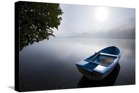 Scandinavia, Norway, Oppheimsvatnet Lake, Rowboat, Fog, Landscape-Rainer Mirau-Stretched Canvas Print