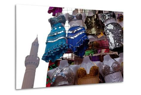 Egypt, Cairo, Islamic Old Town, Clothes Market and Minaret-Catharina Lux-Metal Print
