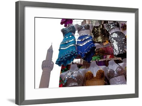 Egypt, Cairo, Islamic Old Town, Clothes Market and Minaret-Catharina Lux-Framed Art Print