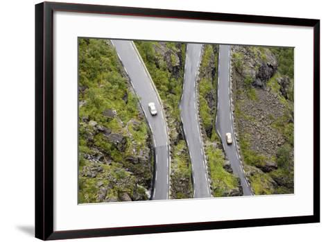 Scandinavia, Norway, Troll-Steep Track, Mountain-Passport, Serpentine, Streets-Course-Rainer Mirau-Framed Art Print