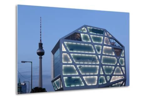 Germany, Berlin, Humboldt Box, Illuminated, Television Tower, Dusk-Catharina Lux-Metal Print